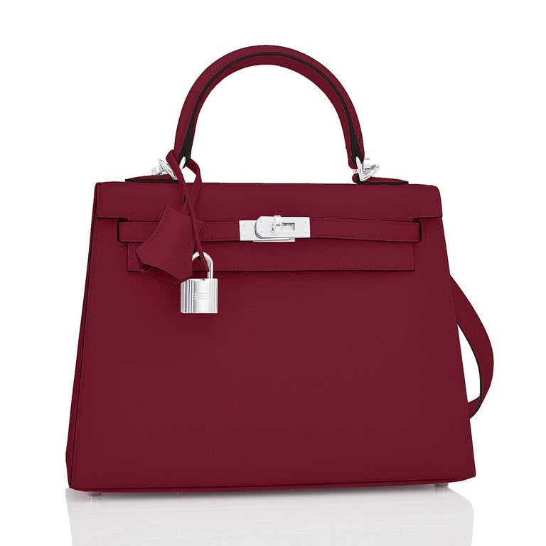 Hermes Kelly 25 Rouge H Epsom Sellier Bordeaux Shoulder Bag Y Stamp, 2020 In New Condition For Sale In New York, NY