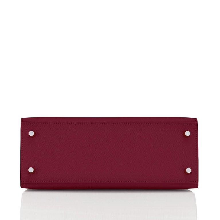 Women's Hermes Kelly 25 Rouge H Epsom Sellier Bordeaux Shoulder Bag Y Stamp, 2020 For Sale