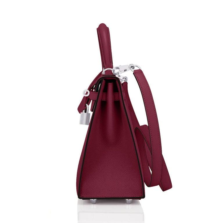 Hermes Kelly 25 Rouge H Epsom Sellier Bordeaux Shoulder Bag Y Stamp, 2020 For Sale 1