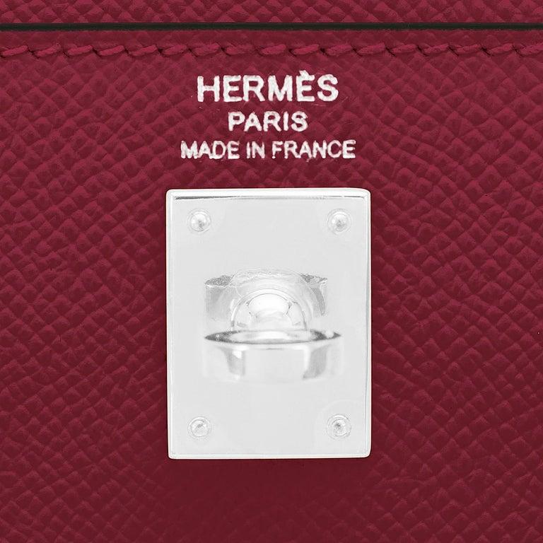 Hermes Kelly 25 Rouge H Epsom Sellier Bordeaux Shoulder Bag Y Stamp, 2020 For Sale 4