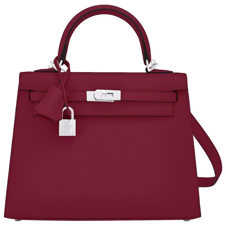 Hermes Kelly 25 Rouge H Epsom Sellier Bordeaux Shoulder Bag Y Stamp, 2020 For Sale