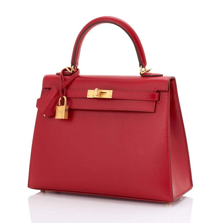 Hermes Kelly 25 Rouge Vif Lipstick Red Sellier Shoulder Bag Y Stamp, 2020 Just purchased from Hermes store; bag bears new interior 2020 Y Stamp. Brand New in Box. Store Fresh. Pristine Condition (with plastic on hardware).  Perfect gift!  Comes full