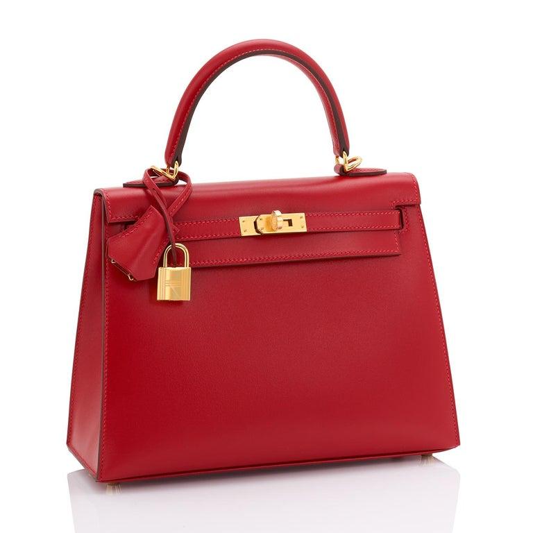 Women's Hermes Kelly 25 Rouge Vif Lipstick Red Sellier Shoulder Bag Y Stamp, 2020 For Sale