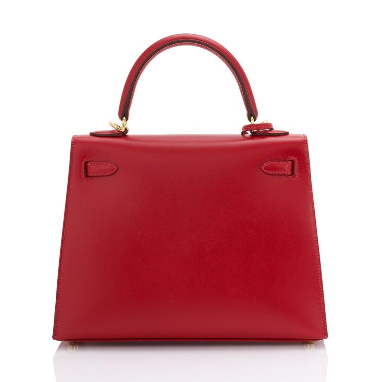 Hermes Kelly 25 Rouge Vif Lipstick Red Sellier Shoulder Bag Y Stamp, 2020 For Sale 1