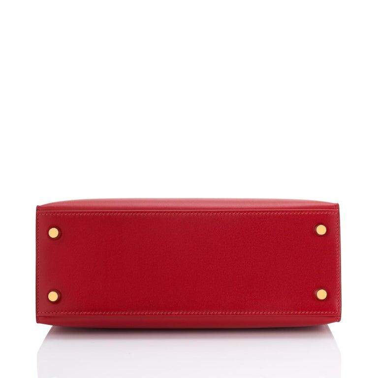 Hermes Kelly 25 Rouge Vif Lipstick Red Sellier Shoulder Bag Y Stamp, 2020 For Sale 2