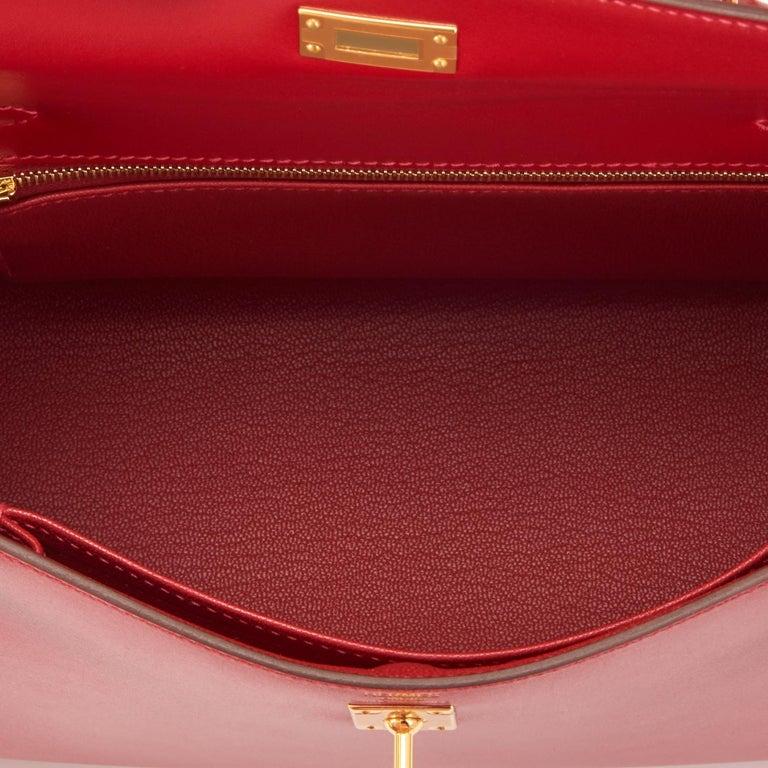 Hermes Kelly 25 Rouge Vif Lipstick Red Sellier Shoulder Bag Y Stamp, 2020 For Sale 3