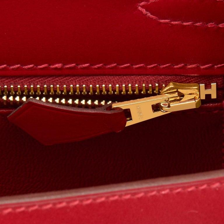 Hermes Kelly 25 Rouge Vif Lipstick Red Sellier Shoulder Bag Y Stamp, 2020 For Sale 4