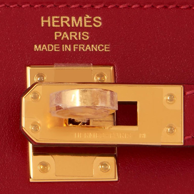 Hermes Kelly 25 Rouge Vif Lipstick Red Sellier Shoulder Bag Y Stamp, 2020 For Sale 5