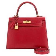 Hermes Kelly 25 Rouge Vif Lipstick Red Sellier Shoulder Bag Y Stamp, 2020