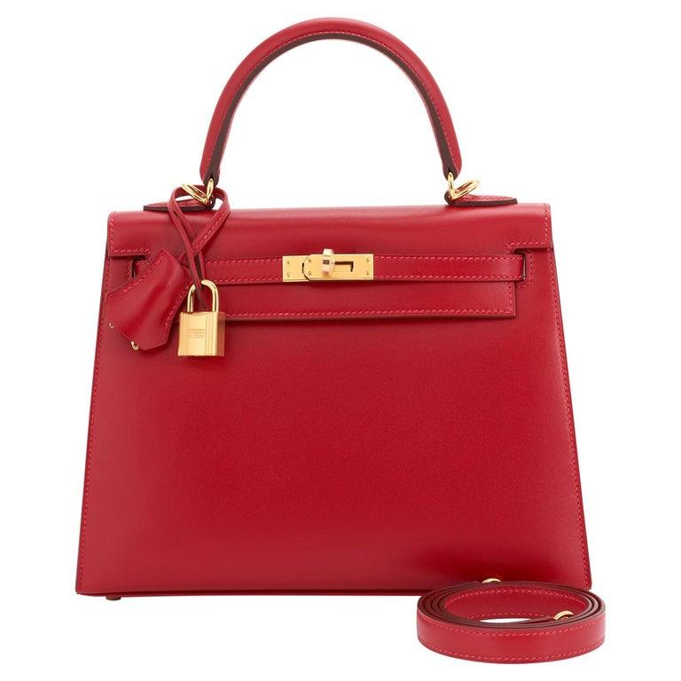 Hermes Kelly 25 Rouge Vif Lipstick Red Sellier Shoulder Bag Y Stamp, 2020 For Sale