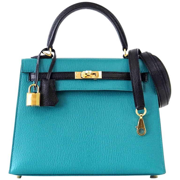Hermes Kelly 25 Sellier Bag HSS Blue Paon / Black Chevre Mysore Gold For Sale