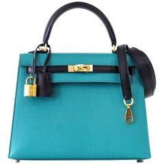 Hermes Kelly 25 Sellier Bag HSS Blue Paon / Black Chevre Mysore Gold