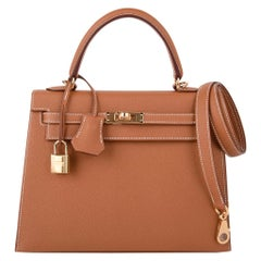 Hermes Kelly 25 Sellier Bag Neutral Gold Epsom Gold Hardware