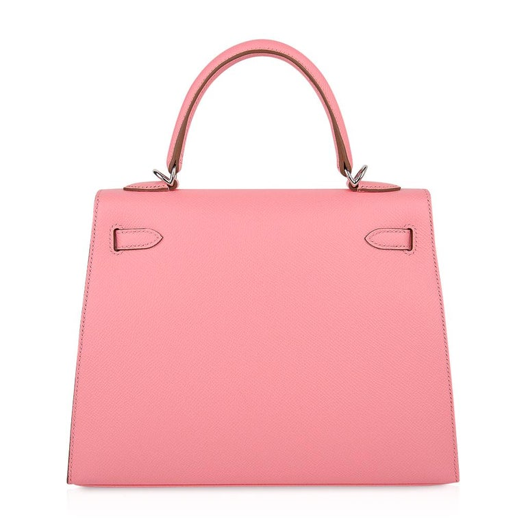 Hermes Kelly 25 Sellier Bag Pink Rose Confetti Palladium Hardware Epsom Leather For Sale 7