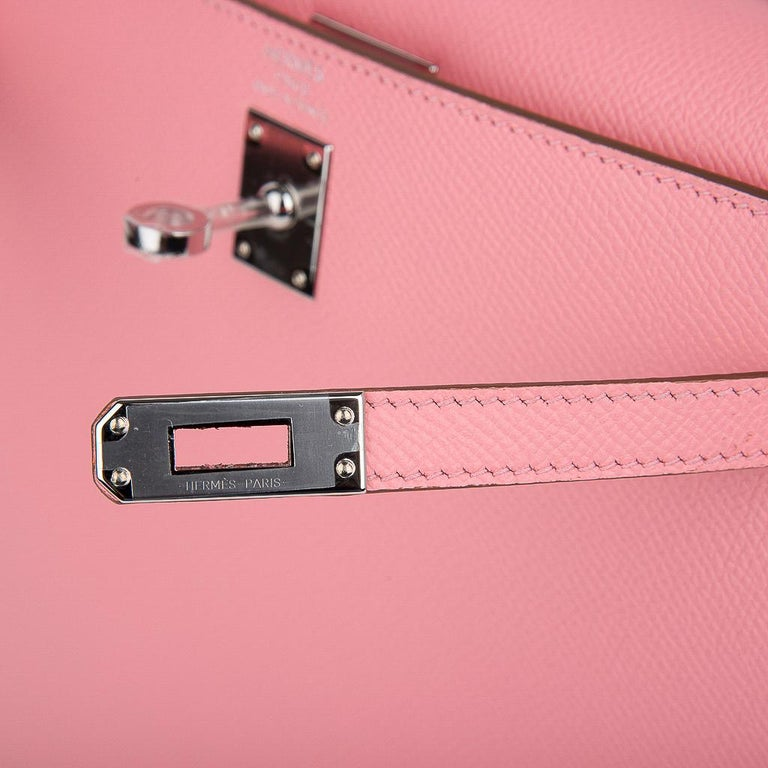 Hermes Kelly 25 Sellier Bag Pink Rose Confetti Palladium Hardware Epsom Leather In New Condition For Sale In Miami, FL