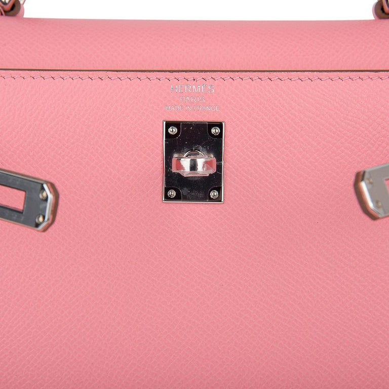 Women's Hermes Kelly 25 Sellier Bag Pink Rose Confetti Palladium Hardware Epsom Leather For Sale
