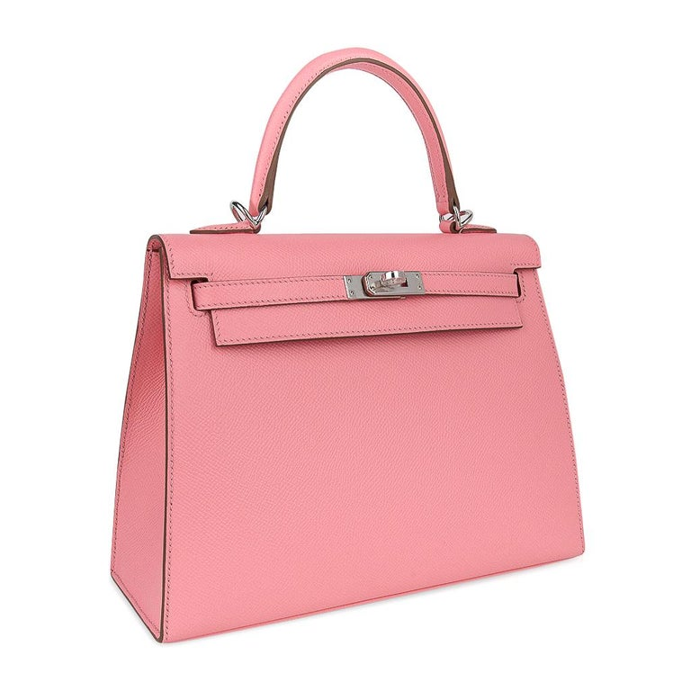 Hermes Kelly 25 Sellier Bag Pink Rose Confetti Palladium Hardware Epsom Leather For Sale 1