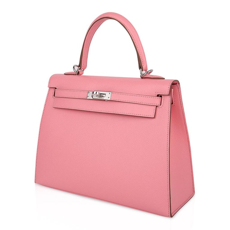 Hermes Kelly 25 Sellier Bag Pink Rose Confetti Palladium Hardware Epsom Leather For Sale 3
