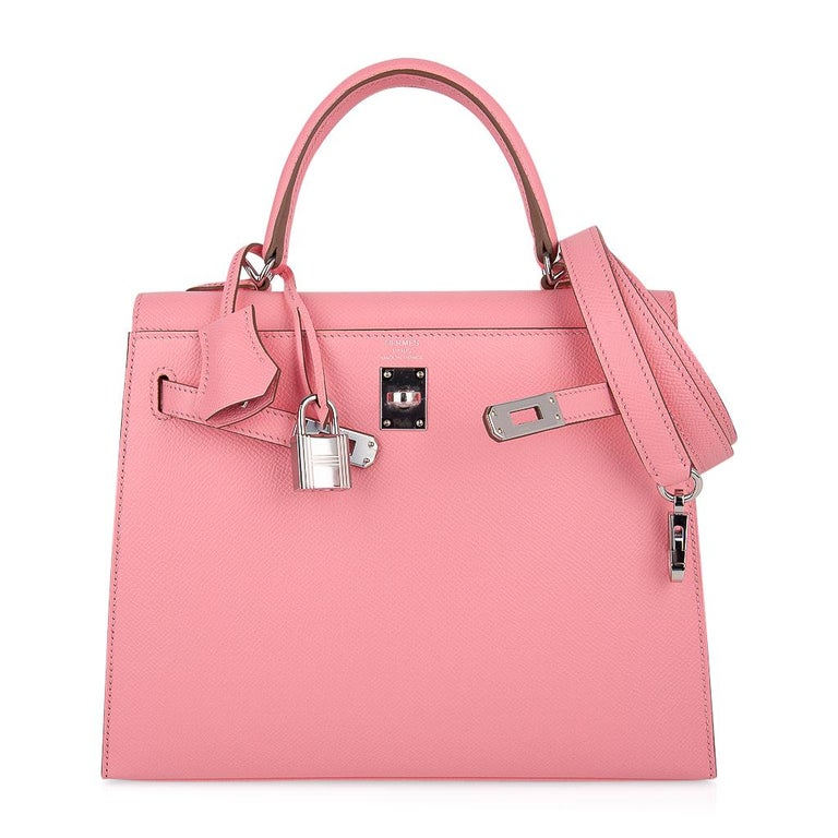 Hermes Kelly 25 Sellier Bag Pink Rose Confetti Palladium Hardware Epsom Leather For Sale 4