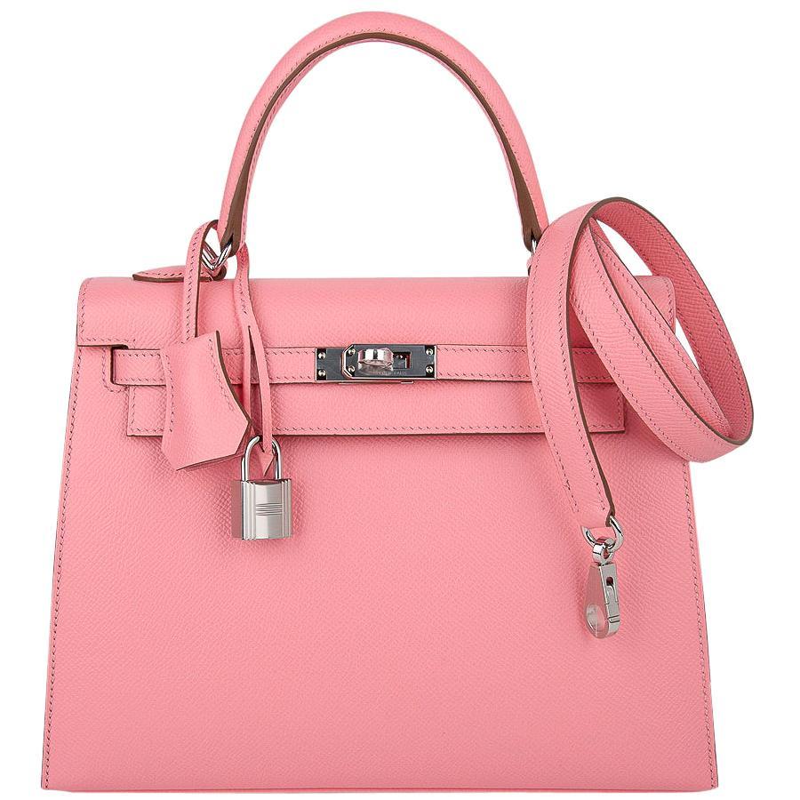 Hermes Kelly 25 Sellier Bag Pink Rose Confetti Palladium Hardware Epsom Leather