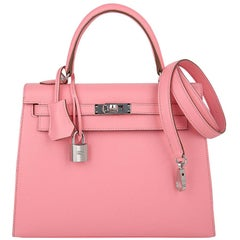 Hermes Kelly 25 Sellier Bag Pink Rose Confetti Palladium Hardware Epsom Leather