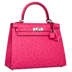 Hermes Kelly 25 Sellier Rose Tyrien Ostrich Palladium Hardware