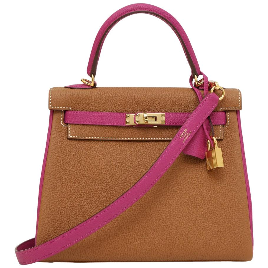 Hermès Kelly 25 special order, camel fucsia leather shoulder / handbag