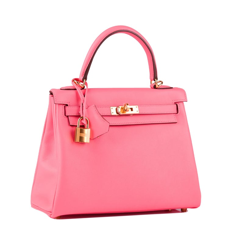 Pink Hermès Kelly 25cm Azalee Swift Leather Gold Hardware For Sale