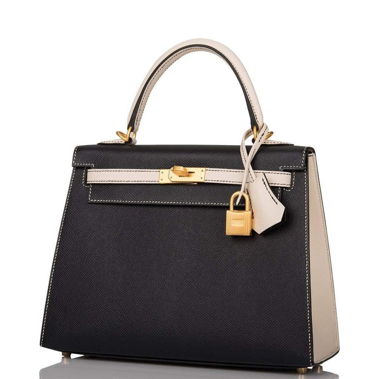 Hermes   Brand New Kelly 25 HSS Special Order Black and Craie So desired! Sellier  Epsom Leather  Contrasting Top Stitching Brush gold hardware Removable shoulder strap Storefresh One of the prettiest combinations Striking! Very Rare Collection: