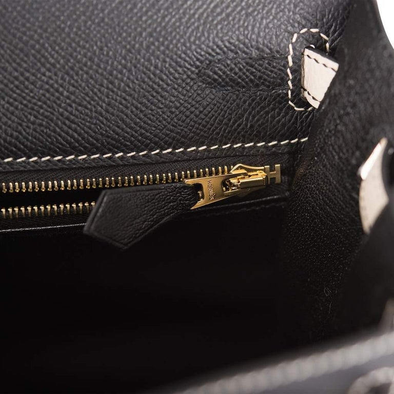 Hermes Kelly 25cm Black Craie HSS Brushed Gold Bag In New Condition For Sale In Delray Beach, FL