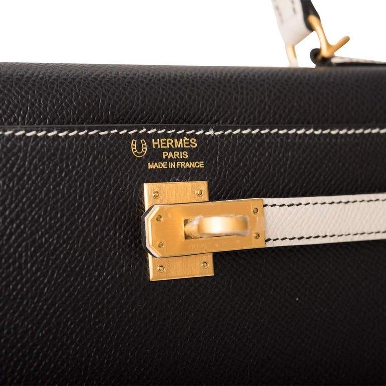 Women's or Men's Hermes Kelly 25cm Black Craie HSS Brushed Gold Bag For Sale