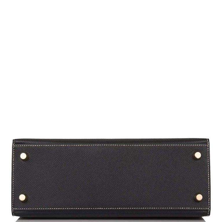 Hermes Kelly 25cm Black Craie HSS Brushed Gold Bag For Sale 1