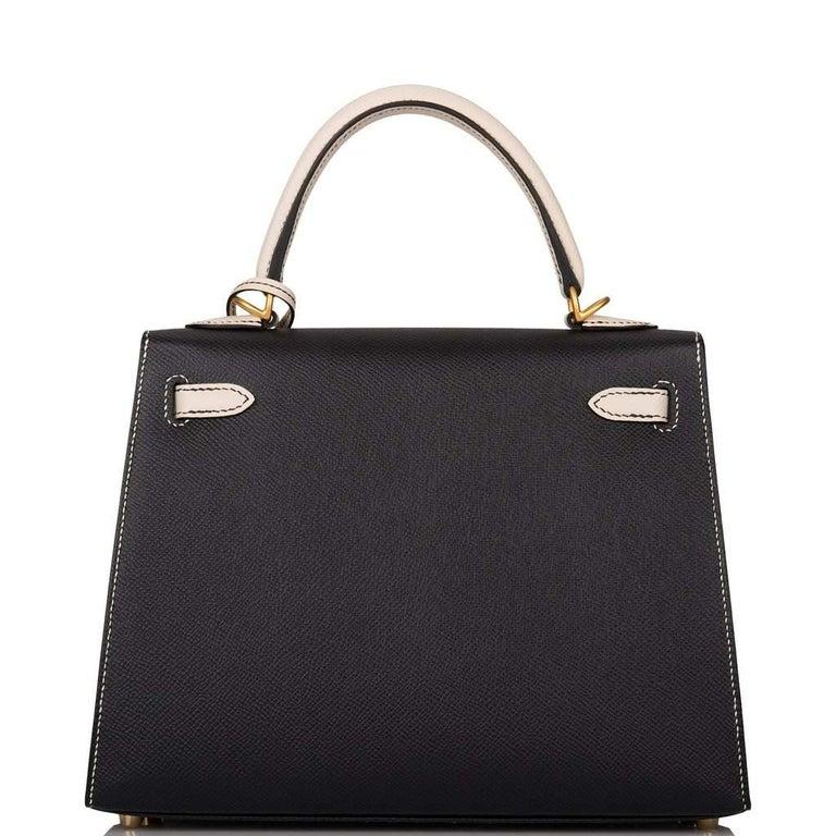Hermes Kelly 25cm Black Craie HSS Brushed Gold Bag For Sale 2