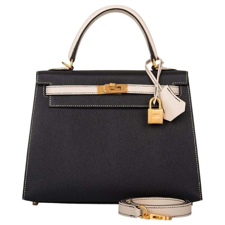 Hermes Kelly 25cm Black Craie HSS Brushed Gold Bag For Sale