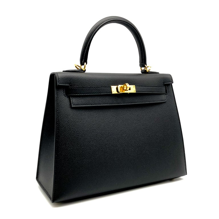 Brand: Hermès  Style: Kelly Sellier Size: 25cm Color: Black Leather: Epsom Hardware: Gold Stamp: 2020 Y  Condition: Pristine, never carried: The item has never been carried and is in pristine condition complete with all accessories.  Accompanied by: