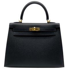 Hermès Kelly 25cm Black Epsom Leather Gold Hardware