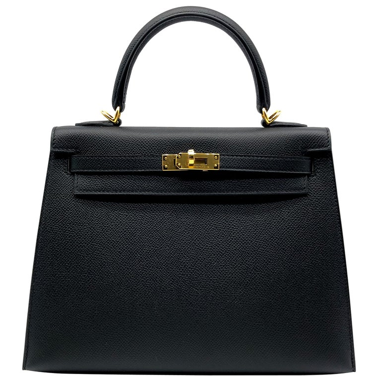 Hermès Kelly 25cm Black Epsom Leather Gold Hardware For Sale