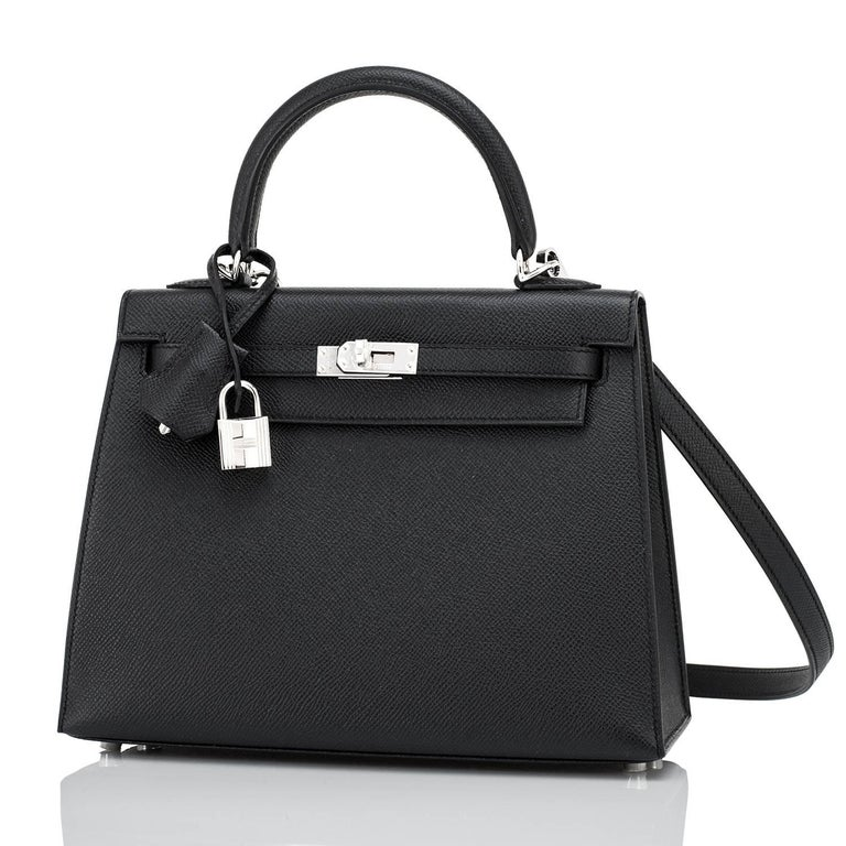 Uber Chic Hermes Jet Black 25cm Kelly Epsom Sellier Palladium Y Stamp, 2020 Brand New in Box. Store Fresh. Pristine Condition (with plastic on hardware). Just purchased from Hermes store; bag bears new interior 2020 Y Stamp. Perfect gift! Comes full