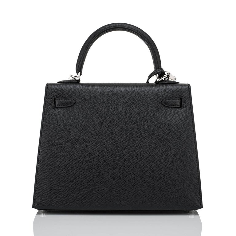 Hermes Kelly 25cm Black Epsom Sellier Palladium Bag Y Stamp, 2020 In New Condition For Sale In New York, NY
