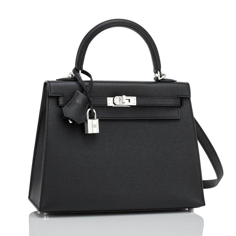 Women's Hermes Kelly 25cm Black Epsom Sellier Palladium Bag Y Stamp, 2020 For Sale