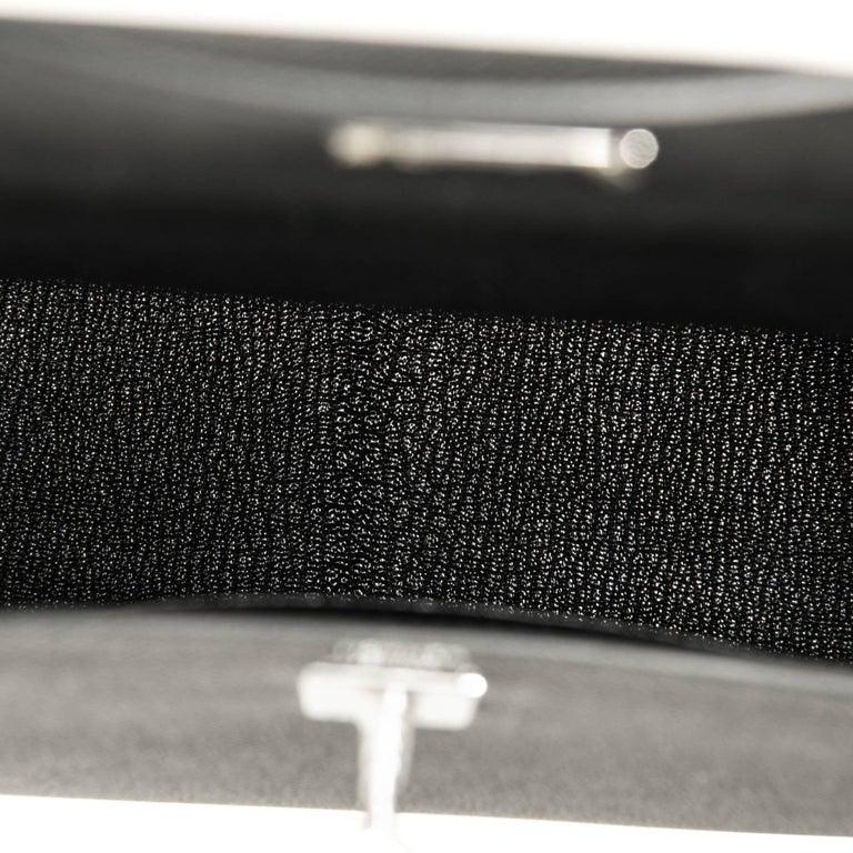 Hermes Kelly 25cm Black Epsom Sellier Palladium Bag Y Stamp, 2020 For Sale 2