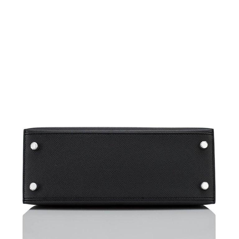 Hermes Kelly 25cm Black Epsom Sellier Palladium Bag Y Stamp, 2020 For Sale 3
