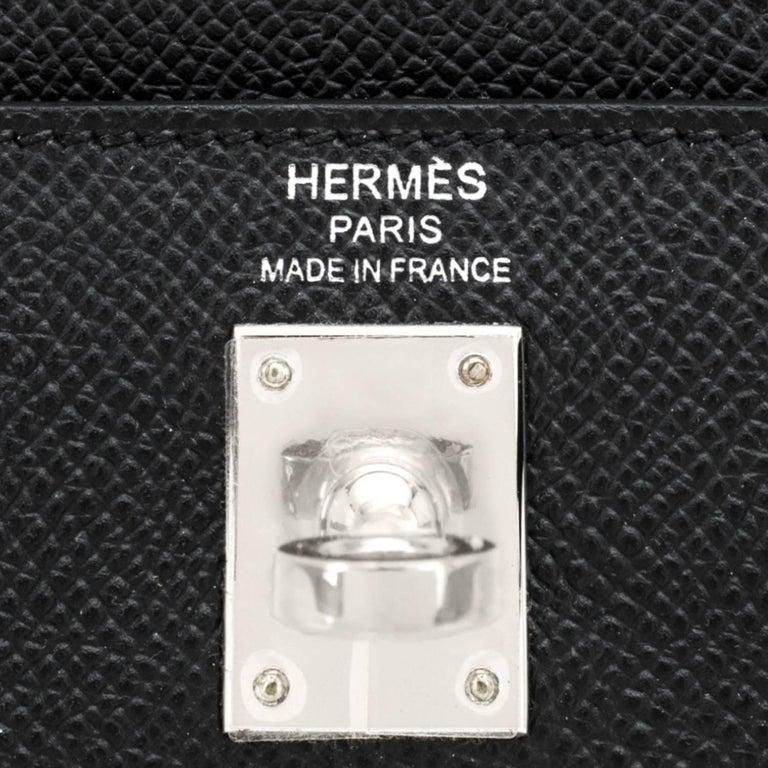 Hermes Kelly 25cm Black Epsom Sellier Palladium Bag Y Stamp, 2020 For Sale 4