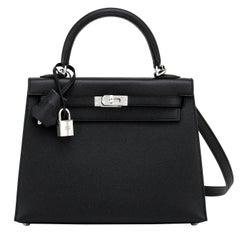 Hermes Kelly 25cm Black Epsom Sellier Palladium Bag Y Stamp, 2020