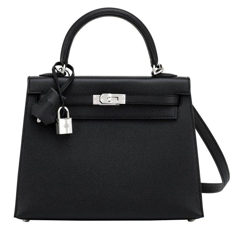 Hermes Kelly 25cm Black Epsom Sellier Palladium Bag Y Stamp, 2020 For Sale