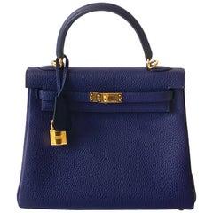 Hermes Kelly 25cm Blue Encre Togo Bag  Gold Hardware