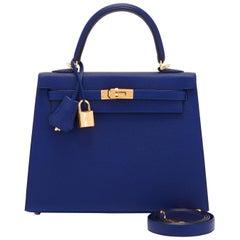 Hermes Kelly 25cm Blue Sapphire Jewel Tone Epsom Sellier Bag Gold Y Stamp, 2020