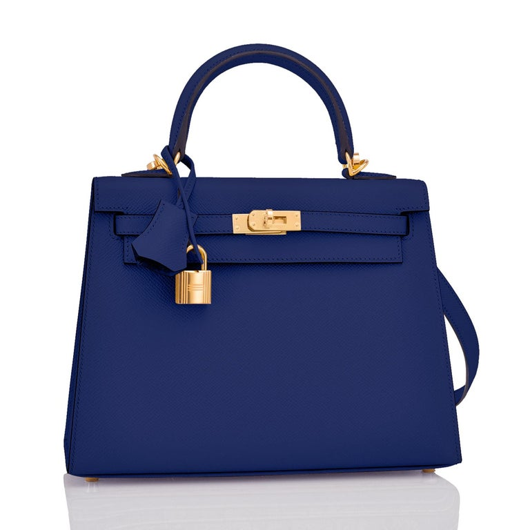 Hermes Kelly 25cm Blue Sapphire Navy epsom Sellier Bag Gold Y Stamp, 2020 Just purchased from Hermes store; bag bears new interior 2020 Stamp. Brand New in Box. Store Fresh. Pristine Condition (with plastic on hardware). Perfect gift! Comes full set