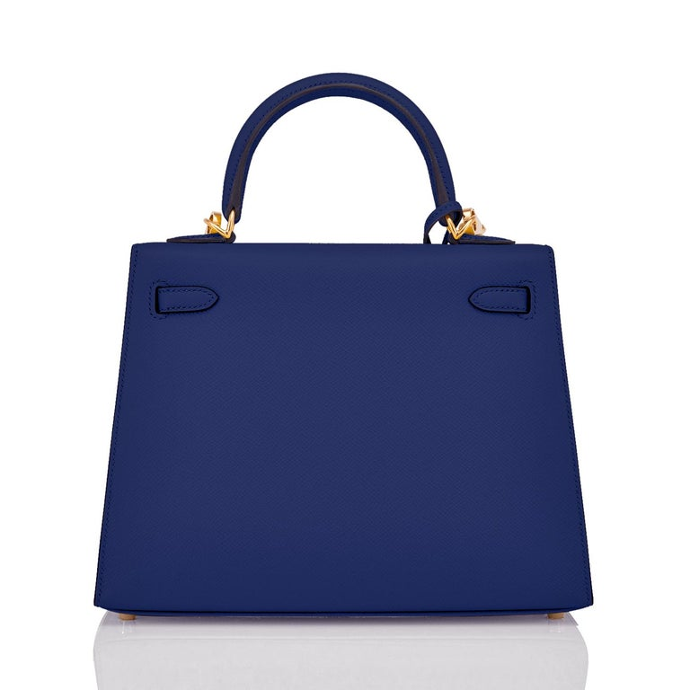 Purple Hermes Kelly 25cm Blue Sapphire Navy Epsom Sellier Bag Gold Y Stamp, 2020 For Sale