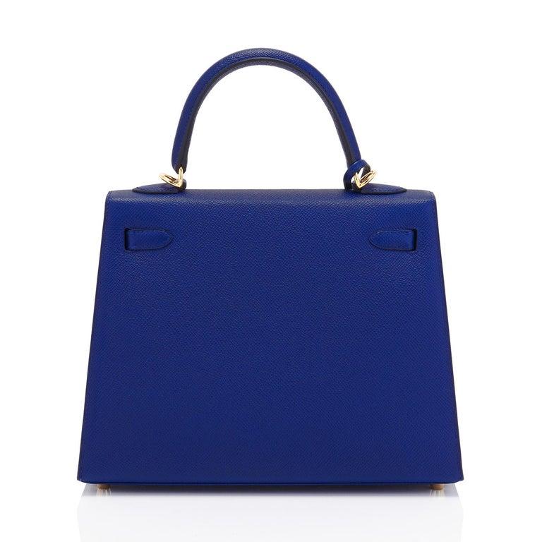 Purple Hermes Kelly 25cm Blue Sapphire Navy Epsom Sellier Bag Gold Y Stamp, 2020 For Sale